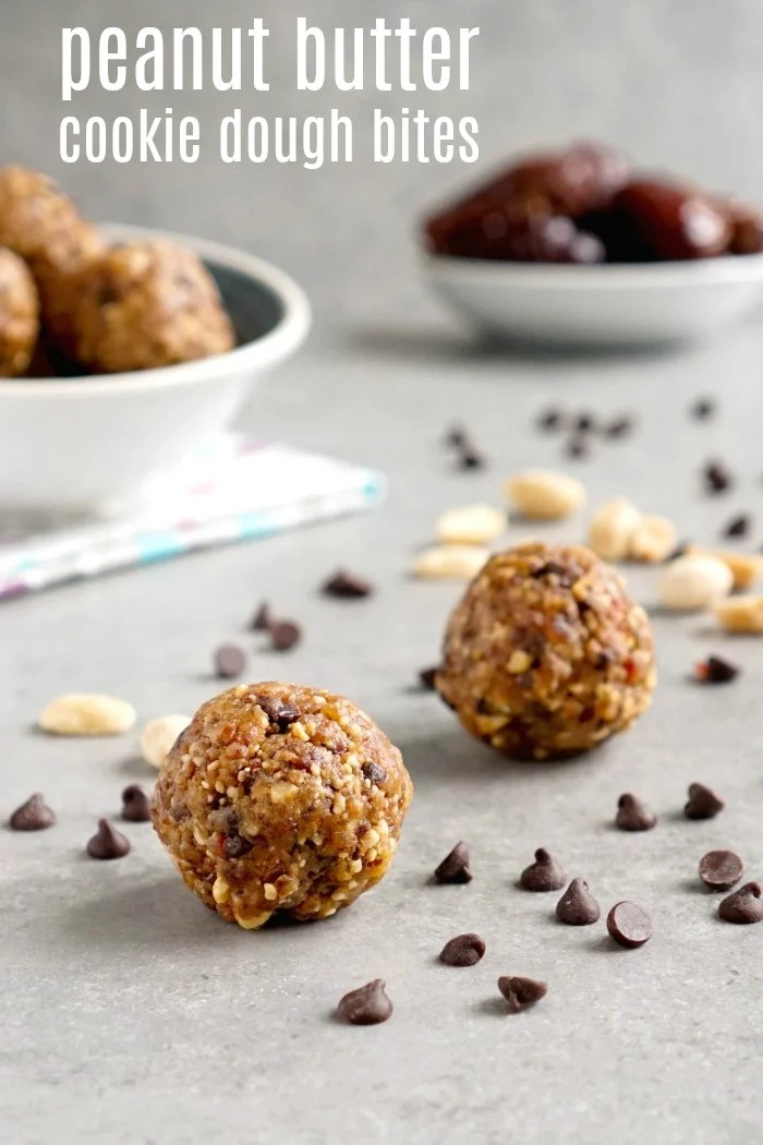 These edible peanut butter cookie dough bites are such a healthy, energy-boosting snack! I can't stop eating them.