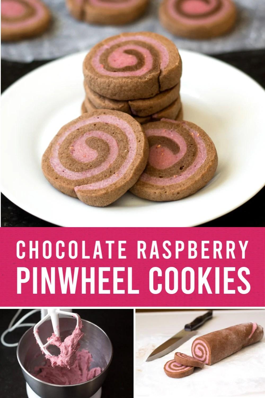 Chocolate raspberry pinwheel cookies on a plate