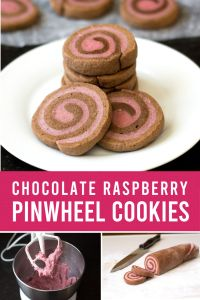 Chocolate raspberry pinwheel cookies on a plate