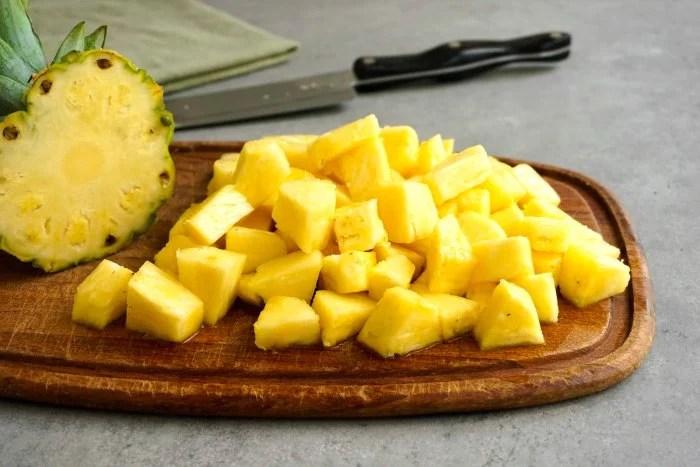 Pineapple on a cutting board