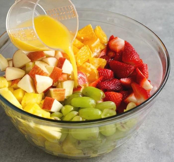 Pour a little orange juice on your fruit salad for the best flavor.
