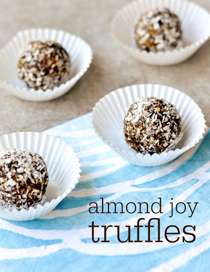 These healthy Almond Joy Truffles taste just as good as the candy. This recipe is the perfect snack if you want something healthy that tastes like dessert. Recipe from realfoodrealdeals.com