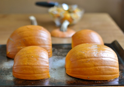 Place the pumpkins cut side down on a baking sheet.