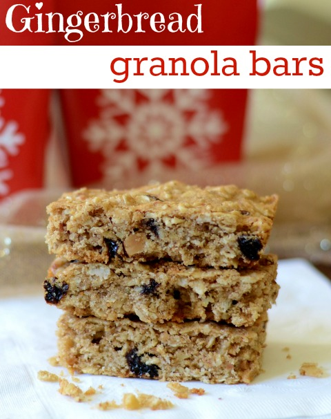 These gingerbread granola bars are such a delicious Christmas dessert! They're a great winter holiday gift or snack. Recipe from Real Food Real Deals.