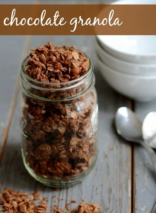 This chocolate granola recipe tastes just like chocolate sugar cereal, but it's full of healthy ingredients! Perfect breakfast, right? Recipe from Real Food Real Deals.