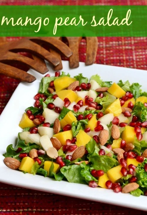 This easy Mango Pear Salad is the perfect holiday recipe. Add this bright, flavorful salad to your Thanksgiving or Christmas menu.