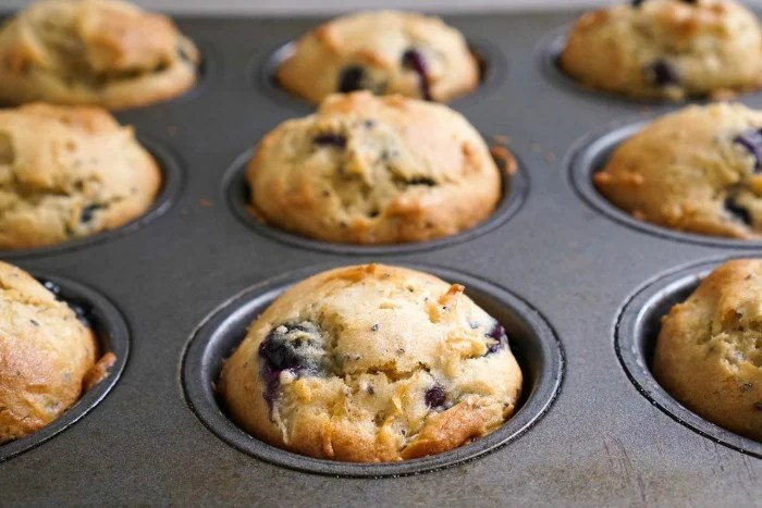 These blueberry chia muffins are cooling in the pan.