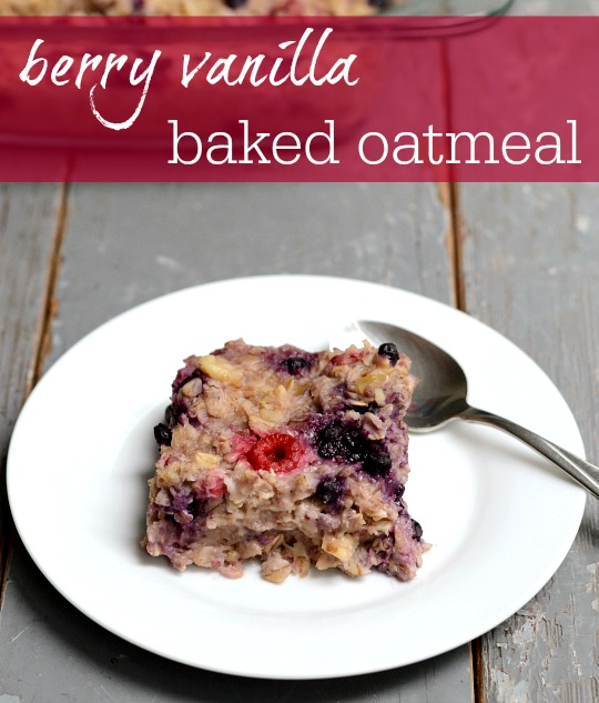 This berry vanilla baked oatmeal is a delicious, healthy make-ahead breakfast recipe. The flavor is amazing!