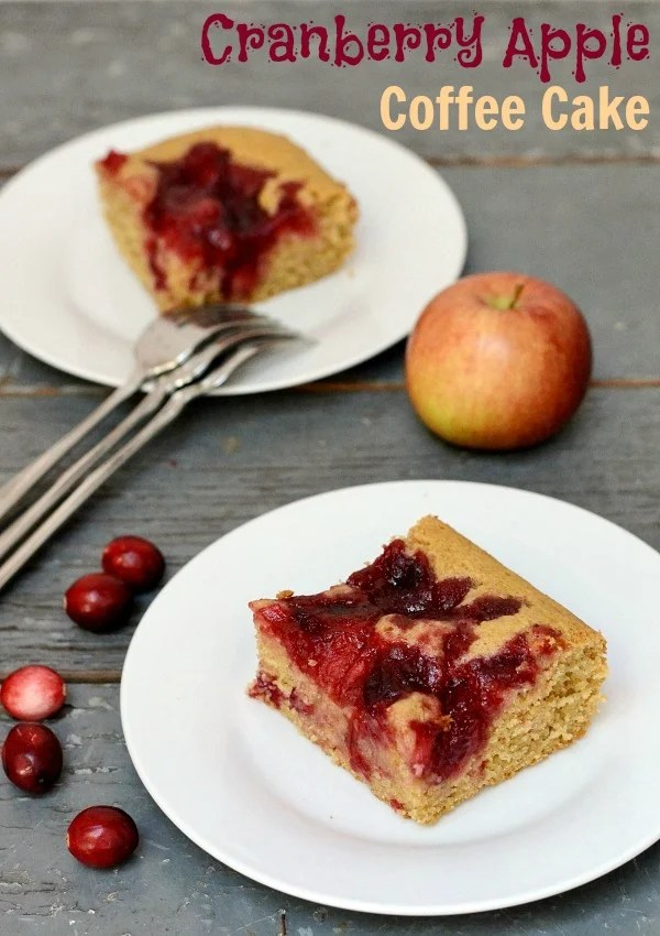 This Cranberry Apple Coffee Cake is a delicious, healthy dessert recipe for any time of year! Cranberries and apples are my favorite fall flavors. Recipe from Real Food Real Deals