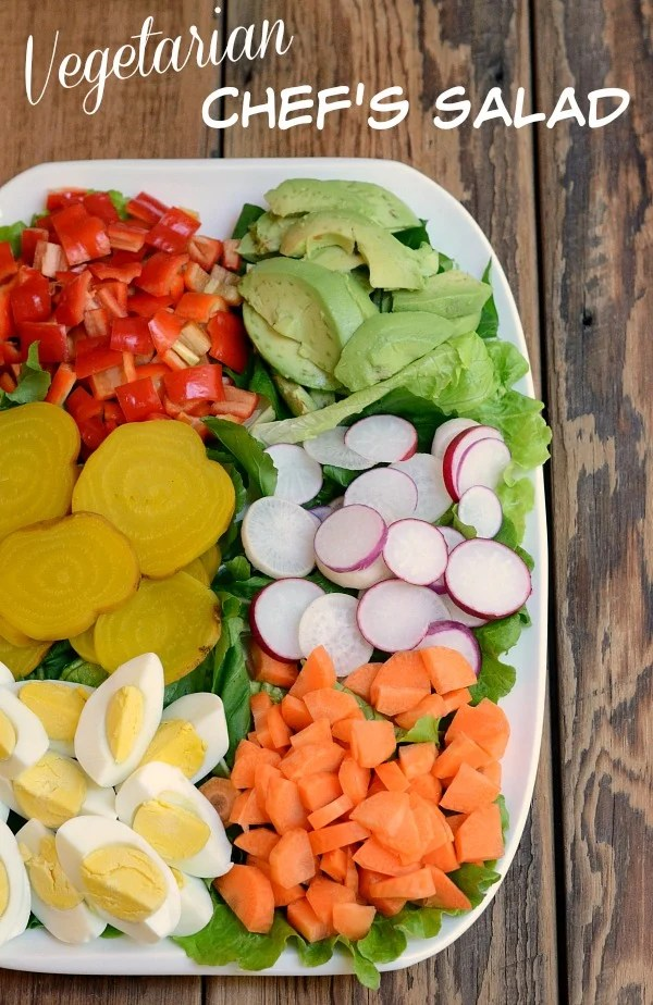 This vegetarian chef's salad recipe is a delicious, healthy combination of produce and protein. It highlights the goodness of Hass avocados, one of my favorite fruits!