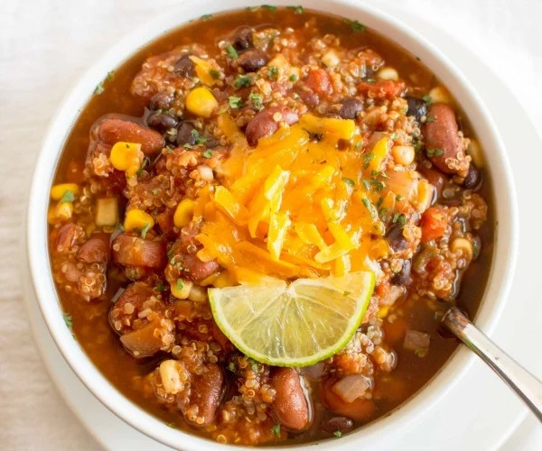 Quinoa Chili is one of the 25 healthy soup recipes featured here.