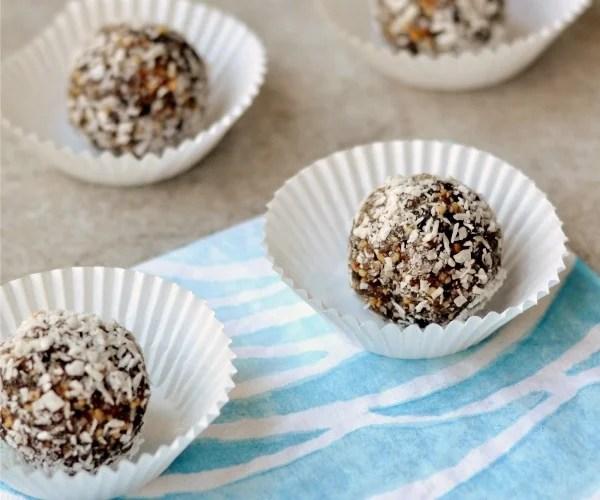 Almond Joy Truffles, a healthy snack recipe