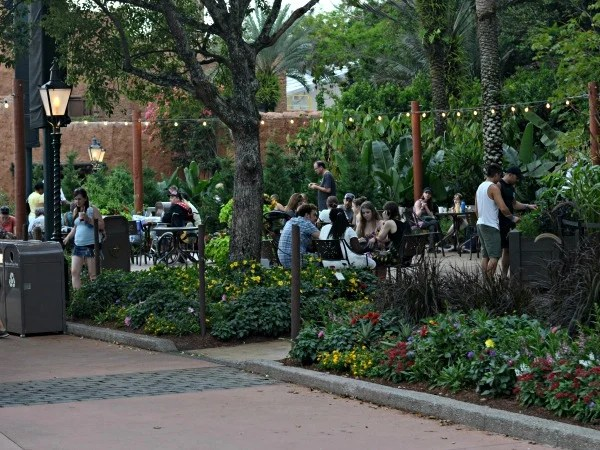 I love dining outside at Epcot's World Showcase.