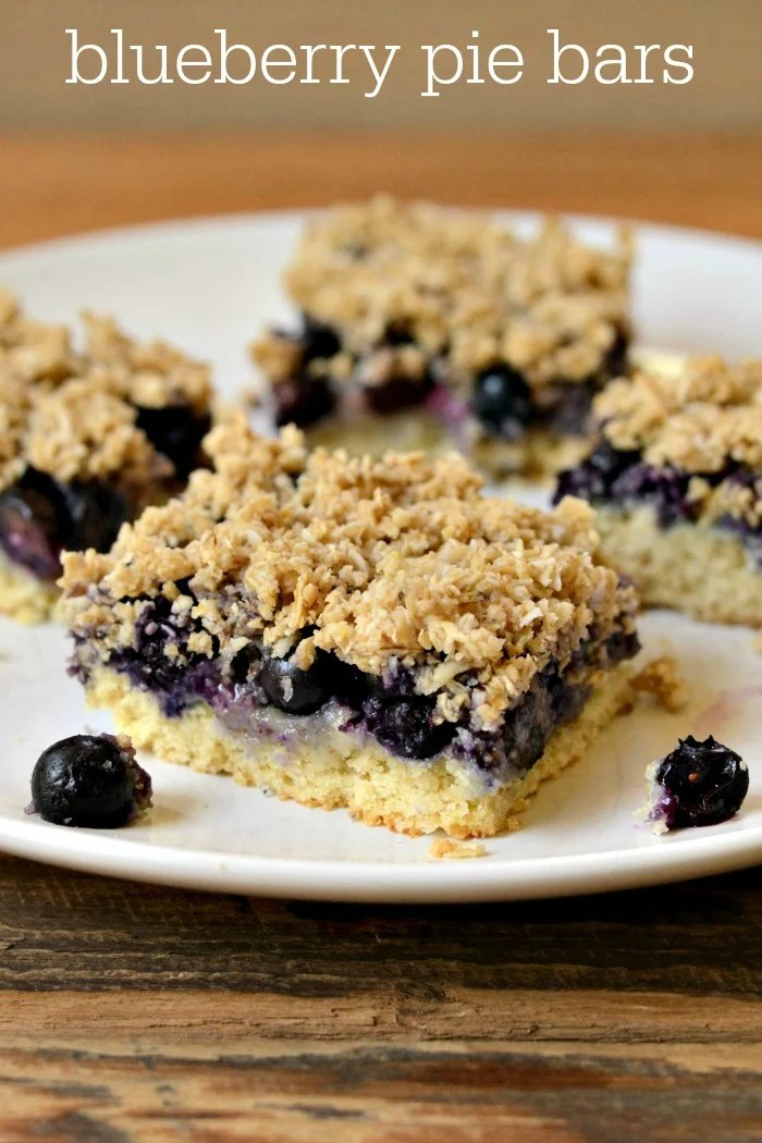 These blueberry pie bars featuring sweet blueberries from the Pacific Northwest are a delicious, healthy dessert recipe for a summer gathering.