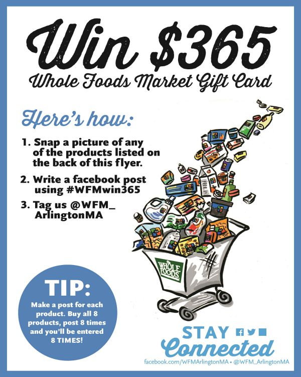 Whole Foods Market Giveaway: The Arlington, Massachusetts store is getting ready for back-to-school season with a big giveaway! Enter to win a $365 Whole Foods gift card.