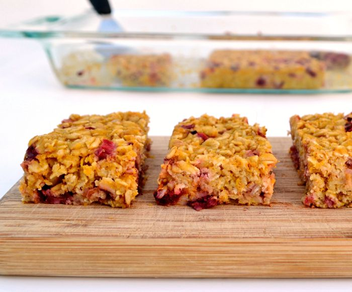 Pumpkin Cranberry Oat Bars are full of fall flavor. Delicious, healthy recipe!