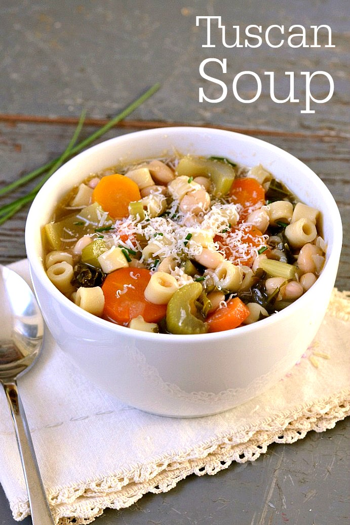 This hearty Tuscan soup is a delicious dinner recipe that's the perfect meal on a fall or winter night. My daughter made it all by herself!