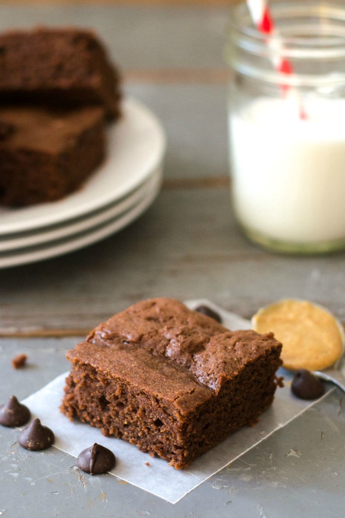 These chocolate peanut butter brownies taste sinfully rich, but they're actually healthier than your average brownie. My family loves this easy gluten-free dessert recipe!