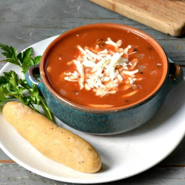 This pizza soup is a healthy meal on a budget.