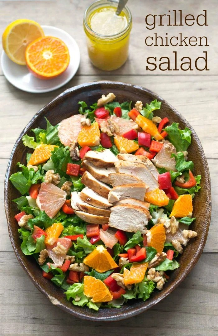 This grilled chicken salad recipe is bursting with the flavor of winter citrus fruit. It makes a delicious, healthy dinner to brighten a winter evening.