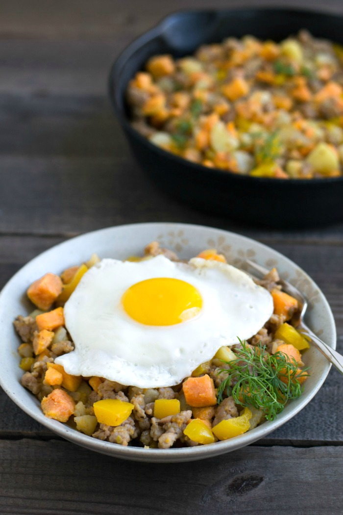 This sweet potato hash recipe is a delicious combination of flavors for breakfast, lunch, or dinner. Just 6 ingredients in this healthy meal!