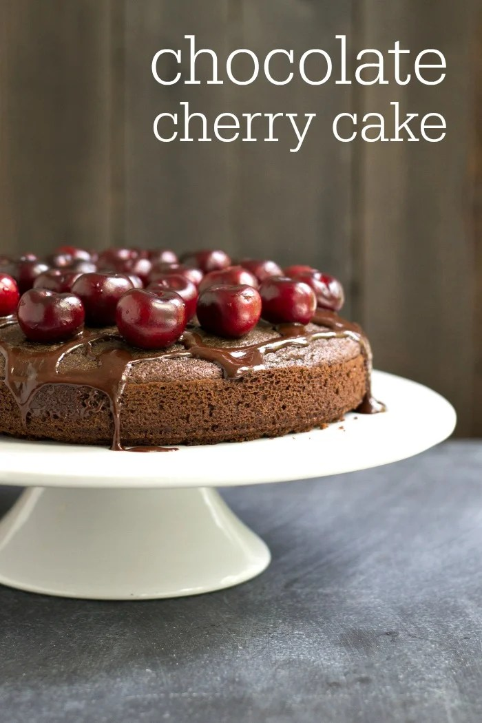 This chocolate cherry cake is a healthy dessert to celebrate cherry season. Try this recipe when you see spring cherries at the market. Gluten free, dairy free, and delicious!