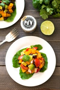 This butternut squash taco salad is a healthy, delicious vegan recipe that highlights specialty chili powder and olive oil from the Chefs Warehouse.