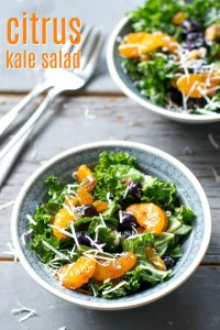 This easy kale salad recipe features mandarin oranges and a citrus dressing. It's made up of convenient pantry ingredients, so it's a great healthy salad that you can make all year long!