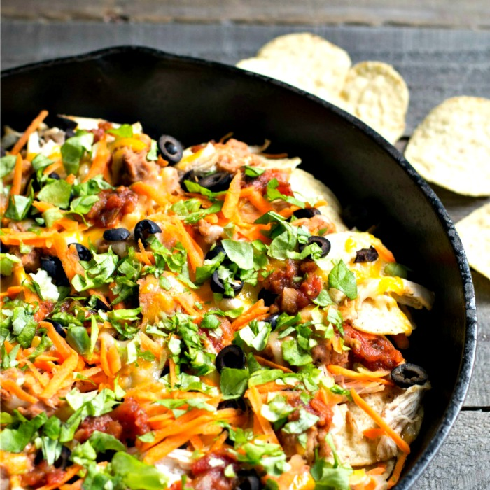 These grilled chicken nachos are the perfect quick dinner! This healthy, casual recipe also makes a great gluten-free appetizer.