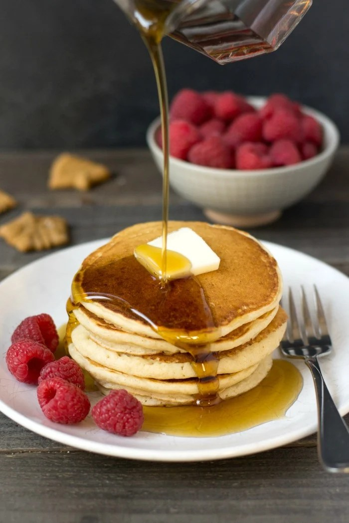 These gluten free gingerbread pancakes are so delicious for a holiday breakfast! This healthy recipe will get everyone in the holiday spirit.