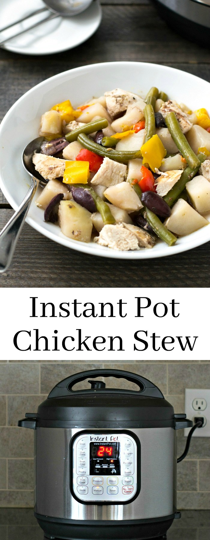 This Instant Pot Chicken Stew is a delicious blend of Mediterranean flavors. It's such an easy, healthy recipe for a chilly night. Recipe from realfoodrealdeals.com