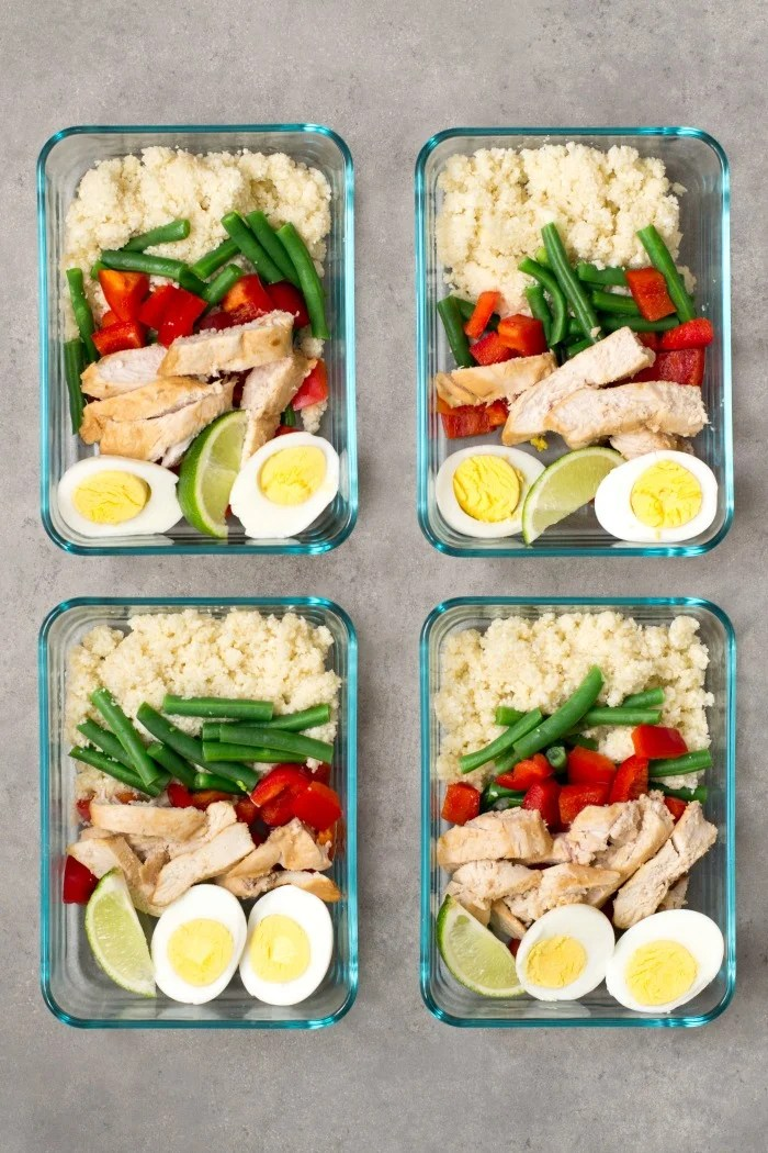 This ginger lime chicken cauliflower rice meal prep bowl is a delicious make-ahead recipe for weekend meal planning. Make this healthy lunch on Sunday and eat it during the week.