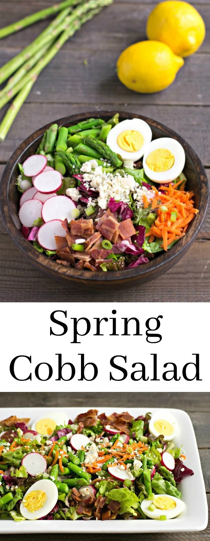 This Spring Cobb Salad is such a delicious burst of fresh produce! I love adding asparagus and radish to the traditional flavors of Cobb salad for a spring meal.