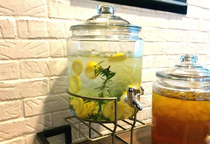 Lemon water with rosemary at Kimpton Glover Park