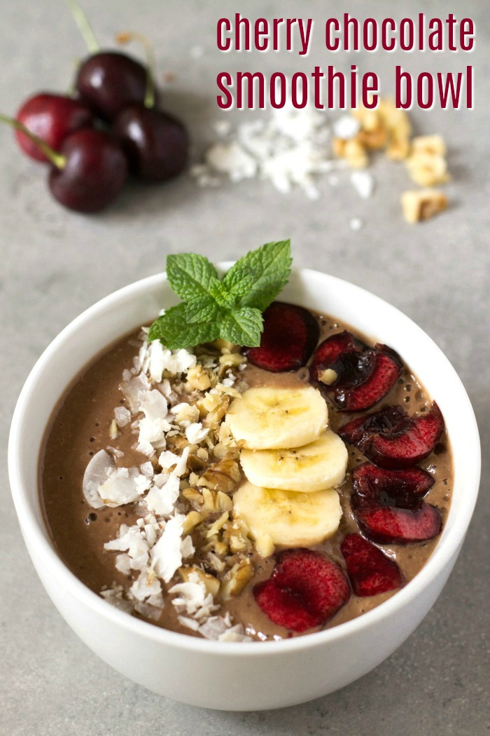 This cherry chocolate smoothie bowl is a healthy breakfast recipe that tastes like dessert! It's a delicious gluten-free, vegan snack.