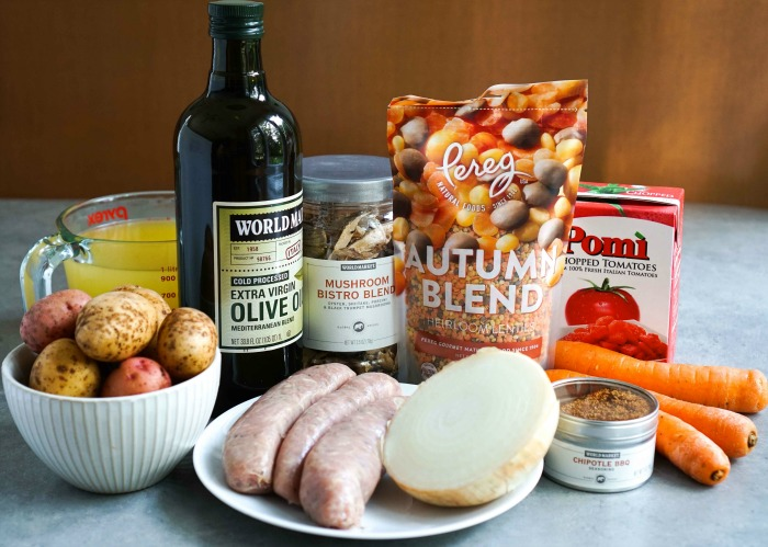 The ingredients for this spicy fall sausage lentil stew