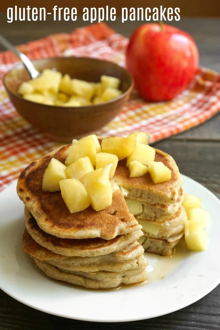 Gluten free apple pancakes are an easy fall breakfast.