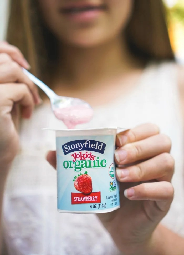 Stonyfield yogurt is a great lower sugar option for kids!