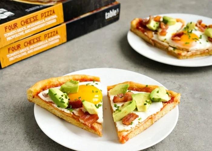Bacon egg avocado pizza