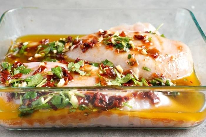 Cilantro lime chicken in marinade