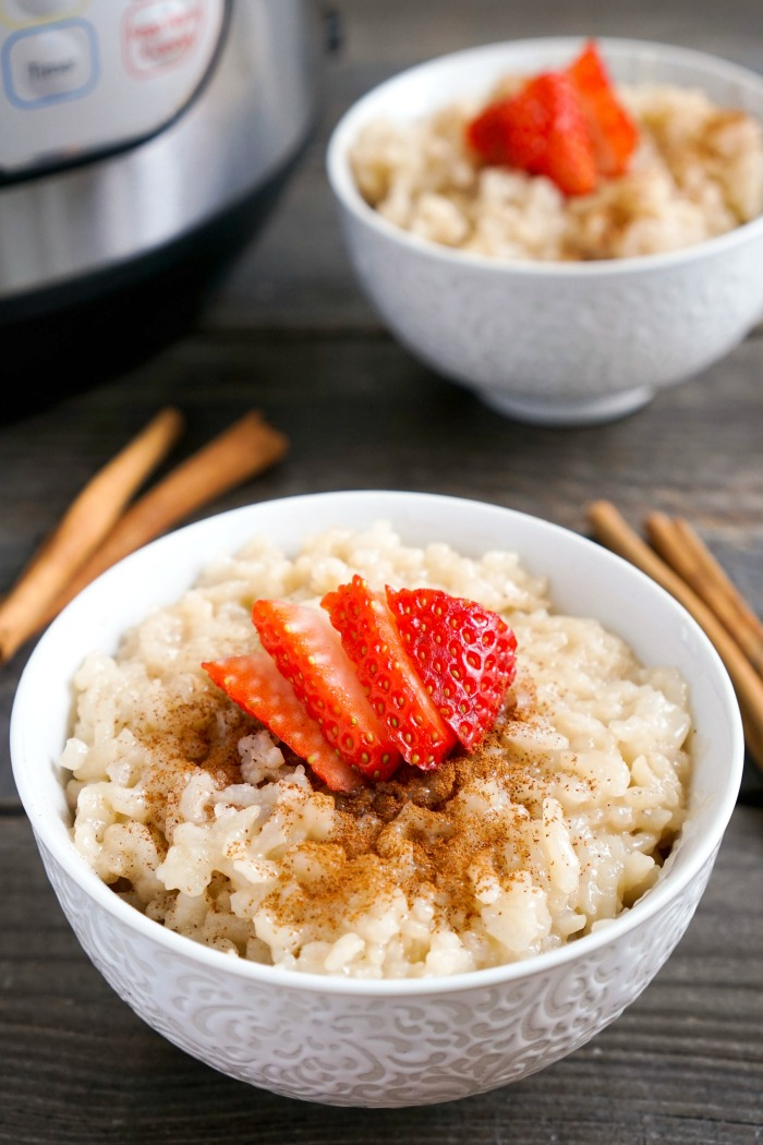 This Instant Pot Rice Pudding is such an easy, delicious dessert! I love cozy recipes like this during the winter. (gluten-free, vegan)