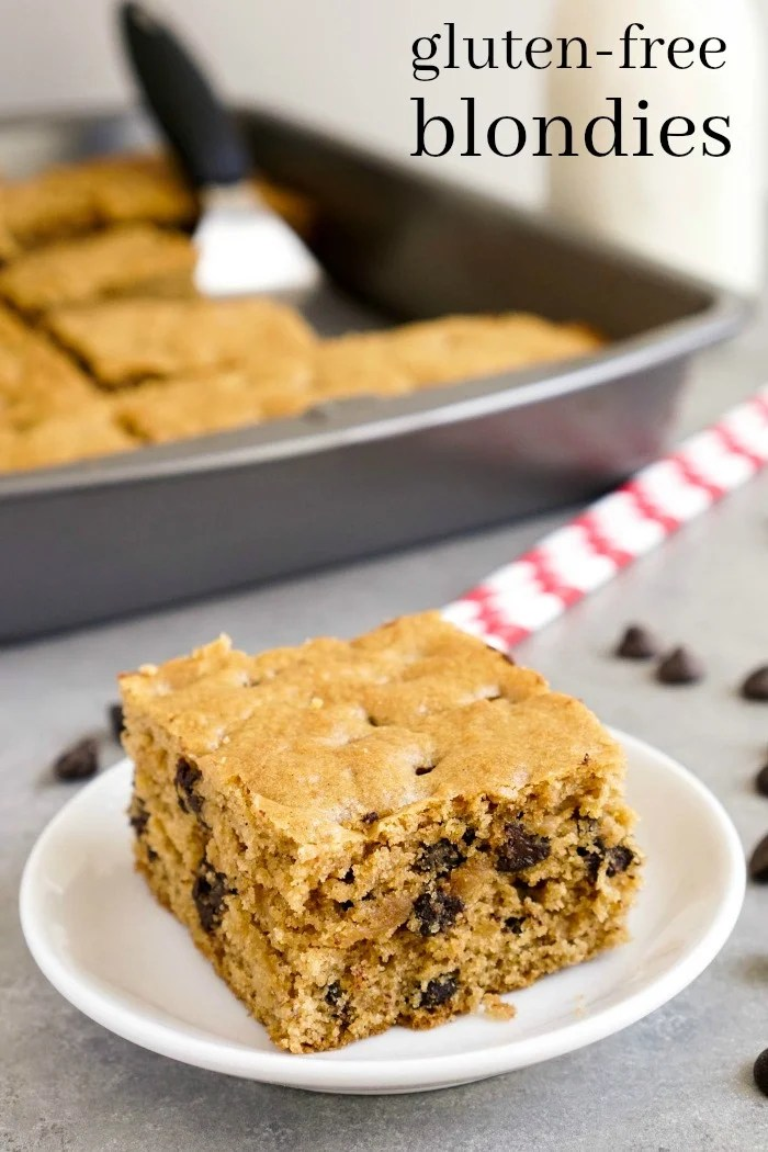These gluten free blondies are such a delicious dessert! This healthy recipe is perfect for a guilt-free indulgence at snack time. (gluten-free, dairy-free)