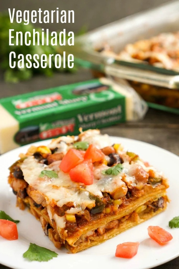 This vegetarian enchilada casserole is such an easy, healthy make-ahead dinner recipe for a busy night. It's on the table in about 30 minutes, and my family loves it.