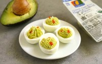 Avocado deviled eggs are the best healthy snack!