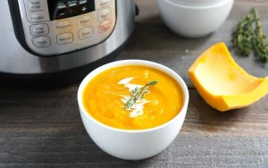 This Instant Pot butternut squash soup is a quick, easy recipe for fall. It'll make the perfect healthy addition to your holiday table.