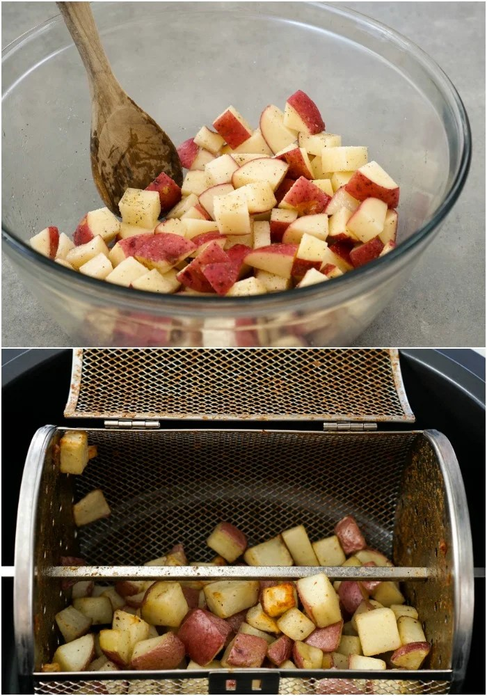 These air fryer potatoes have such an easy process, and the result are healthier than regular fried potatoes.