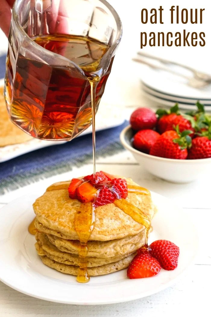 These gluten-free oat flour pancakes are a delicious alternative to traditional pancakes. This is healthy, frugal breakfast recipe.