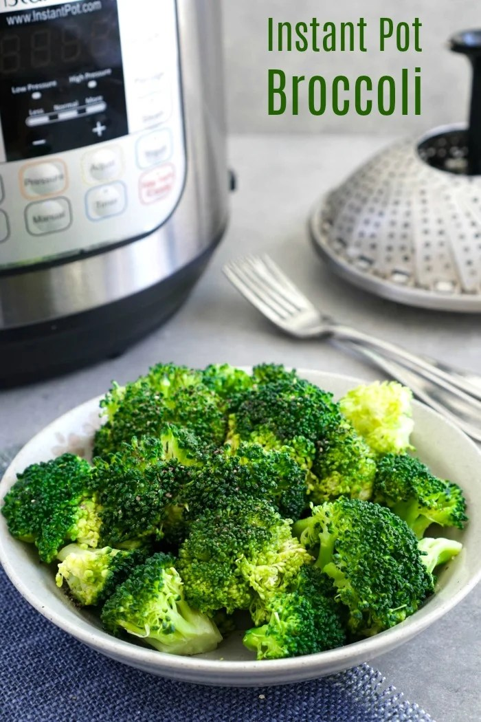 This Instant Pot broccoli is an easy, healthy side dish with a zero minute cook time. Steam broccoli in the Instant Pot pressure cooker for a quick vegetable at dinnertime.
