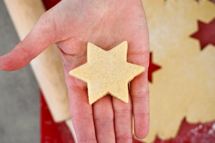 This star shaped dairy free sugar cookie is ready to be baked.