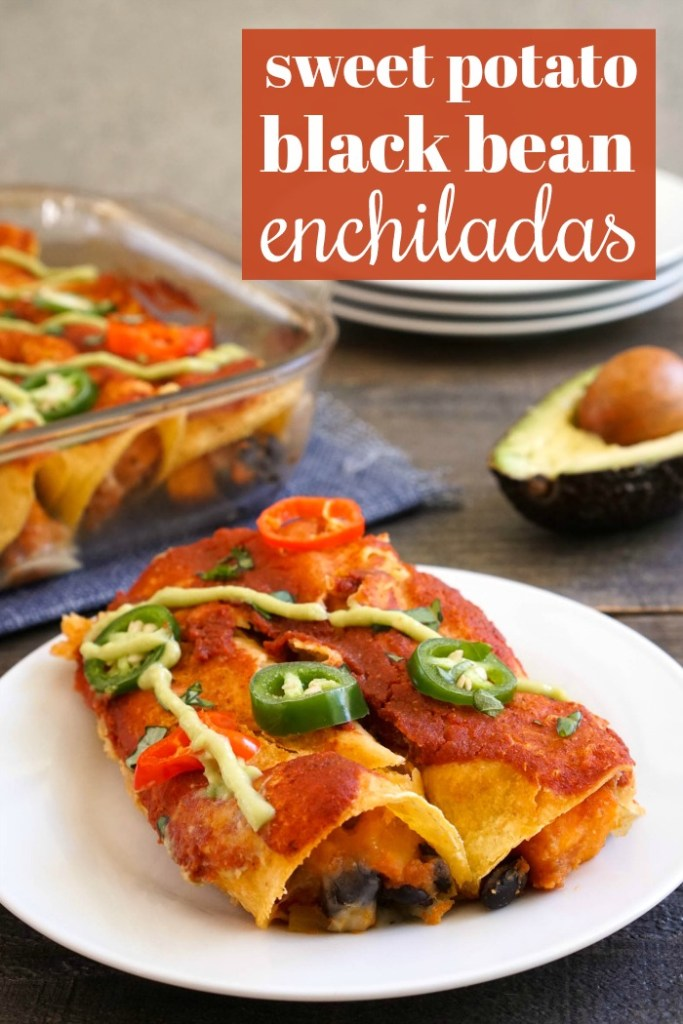 These gluten free enchiladas are filled with sweet potatoes and black beans for a delicious vegetarian meal.